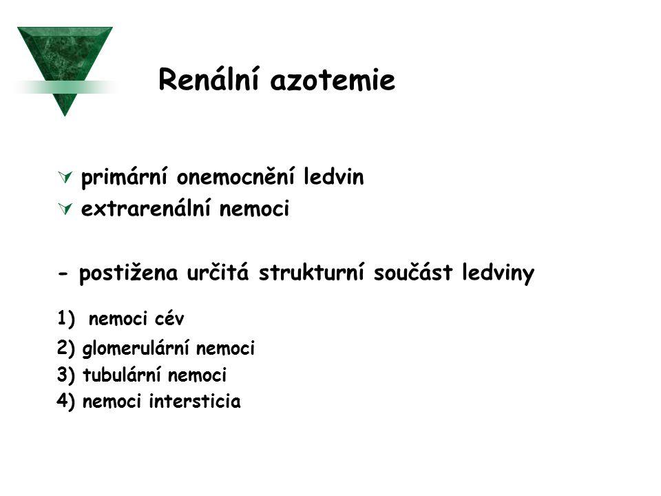 Renální azotemie  primární onemocnění ledvin  extrarenální nemoci - postižena určitá strukturní součást ledviny 1) nemoci cév 2) glomerulární nemoci