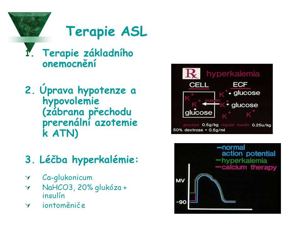 Terapie ASL 1. Terapie základního onemocnění 2. Úprava hypotenze a hypovolemie (zábrana přechodu prerenální azotemie k ATN) 3. Léčba hyperkalémie:  C