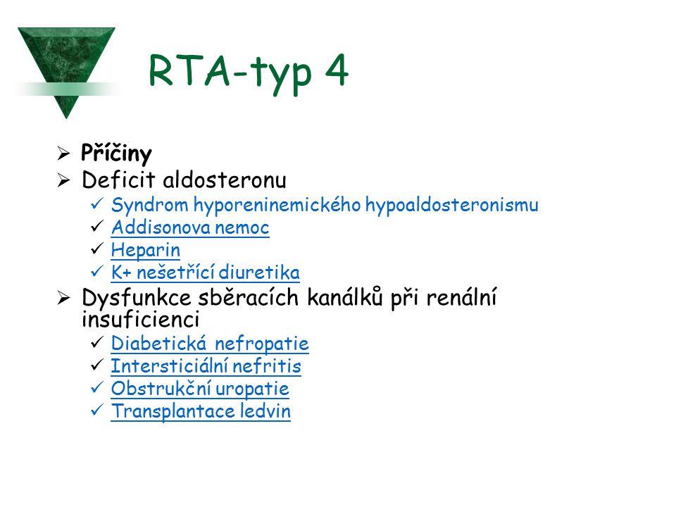 RTA-typ 4  Příčiny  Deficit aldosteronu Syndrom hyporeninemického hypoaldosteronismu Addisonova nemoc Heparin K+ nešetřící diuretika  Dysfunkce sbě