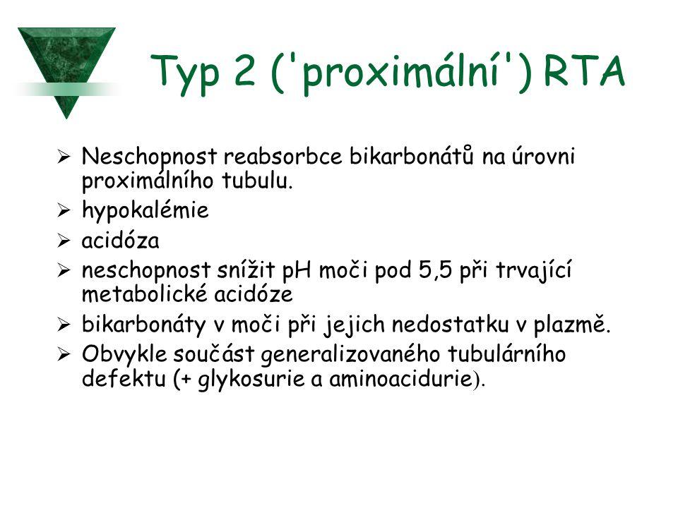 Typ 2 ('proximální') RTA  Neschopnost reabsorbce bikarbonátů na úrovni proximálního tubulu.  hypokalémie  acidóza  neschopnost snížit pH moči pod