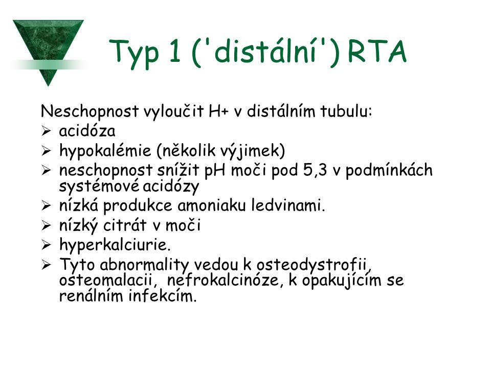 Typ 1 ('distální') RTA Neschopnost vyloučit H+ v distálním tubulu:  acidóza  hypokalémie (několik výjimek)  neschopnost snížit pH moči pod 5,3 v po