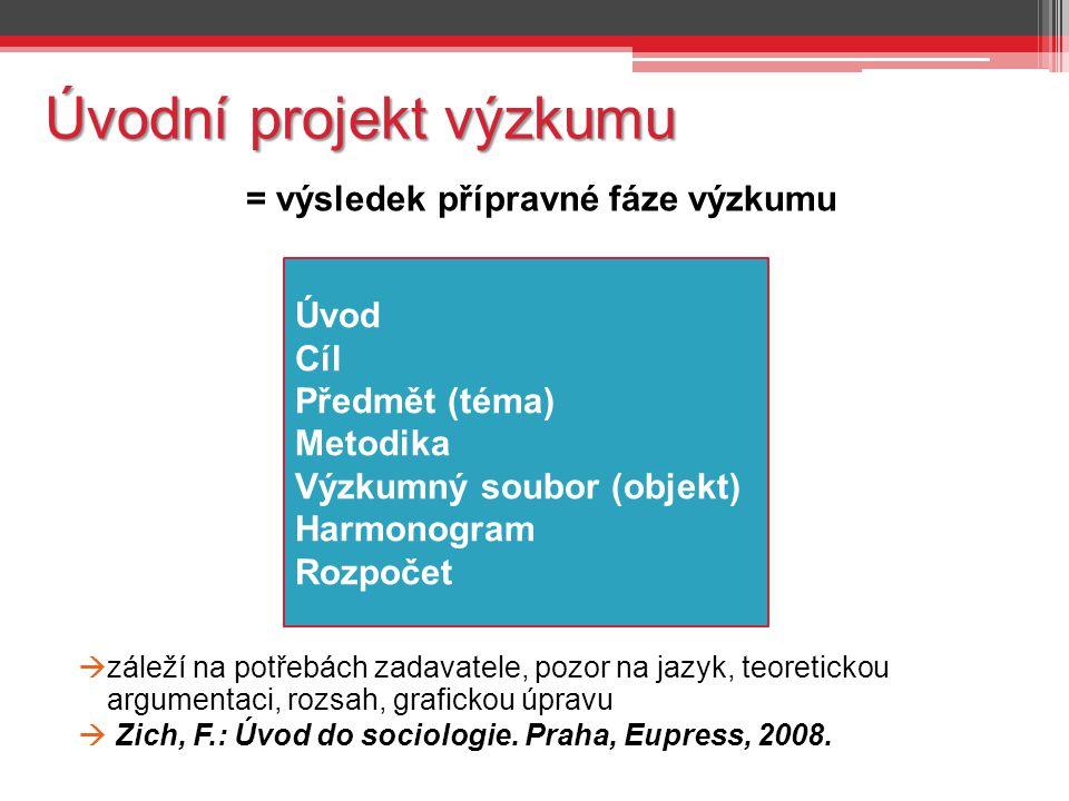 Úvodní projekt výzkumu = výsledek přípravné fáze výzkumu  záleží na potřebách zadavatele, pozor na jazyk, teoretickou argumentaci, rozsah, grafickou úpravu  Zich, F.: Úvod do sociologie.