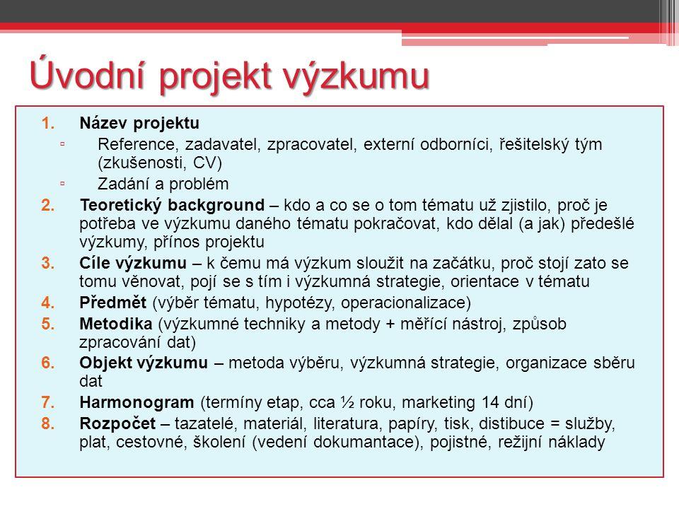 Úvodní projekt výzkumu 1.Název projektu ▫ Reference, zadavatel, zpracovatel, externí odborníci, řešitelský tým (zkušenosti, CV) ▫ Zadání a problém 2.T