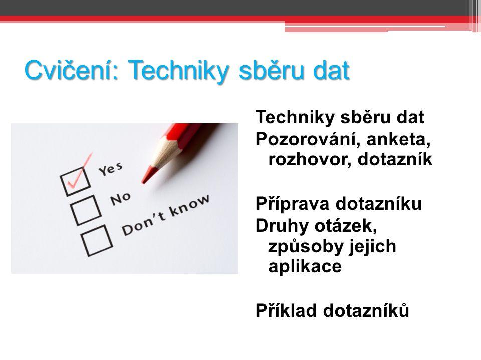 Cvičení: Techniky sběru dat Techniky sběru dat Pozorování, anketa, rozhovor, dotazník Příprava dotazníku Druhy otázek, způsoby jejich aplikace Příklad dotazníků