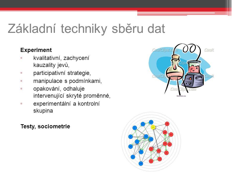 Základní techniky sběru dat Experiment ▫ kvalitativní, zachycení kauzality jevů, ▫ participativní strategie, ▫ manipulace s podmínkami, ▫ opakování, o