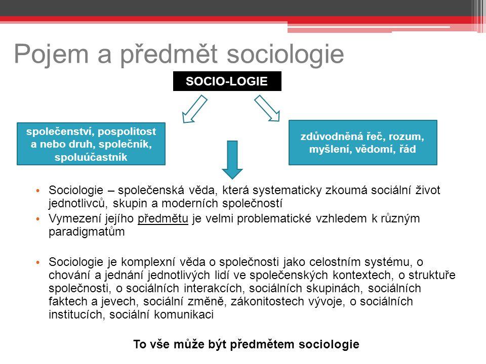Pojem a předmět sociologie Sociologie – společenská věda, která systematicky zkoumá sociální život jednotlivců, skupin a moderních společností Vymezen