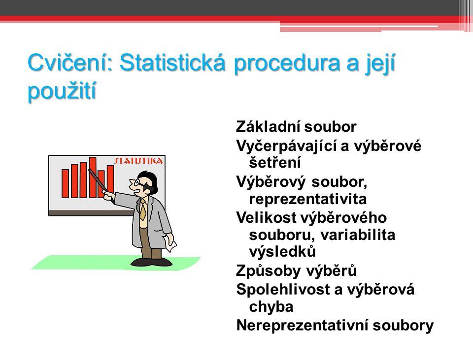 Cvičení: Statistická procedura a její použití Základní soubor Vyčerpávající a výběrové šetření Výběrový soubor, reprezentativita Velikost výběrového souboru, variabilita výsledků Způsoby výběrů Spolehlivost a výběrová chyba Nereprezentativní soubory