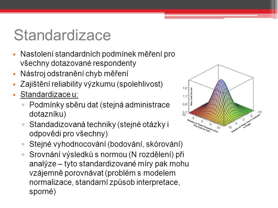 Standardizace Nastolení standardních podmínek měření pro všechny dotazované respondenty Nástroj odstranění chyb měření Zajištění reliability výzkumu (spolehlivost) Standardizace u: ▫ Podmínky sběru dat (stejná administrace dotazníku) ▫ Standadizovaná techniky (stejné otázky i odpovědi pro všechny) ▫ Stejné vyhodnocování (bodování, skórování) ▫ Srovnání výsledků s normou (N rozdělení) při analýze – tyto standardizované míry pak mohu vzájemně porovnávat (problém s modelem normalizace, standarní způsob interpretace, sporné)