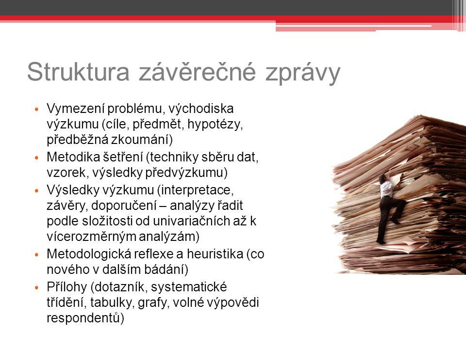 Struktura závěrečné zprávy Vymezení problému, východiska výzkumu (cíle, předmět, hypotézy, předběžná zkoumání) Metodika šetření (techniky sběru dat, v