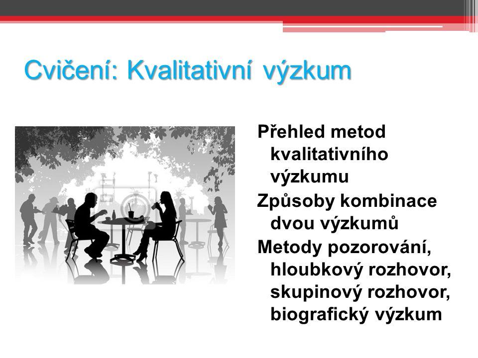 Cvičení: Kvalitativní výzkum Přehled metod kvalitativního výzkumu Způsoby kombinace dvou výzkumů Metody pozorování, hloubkový rozhovor, skupinový rozh