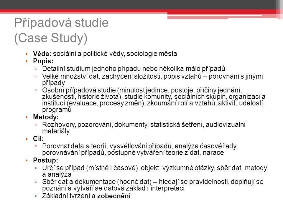 Případová studie (Case Study) Věda: sociální a politické vědy, sociologie města Popis: ▫ Detailní studium jednoho případu nebo několika málo případů ▫