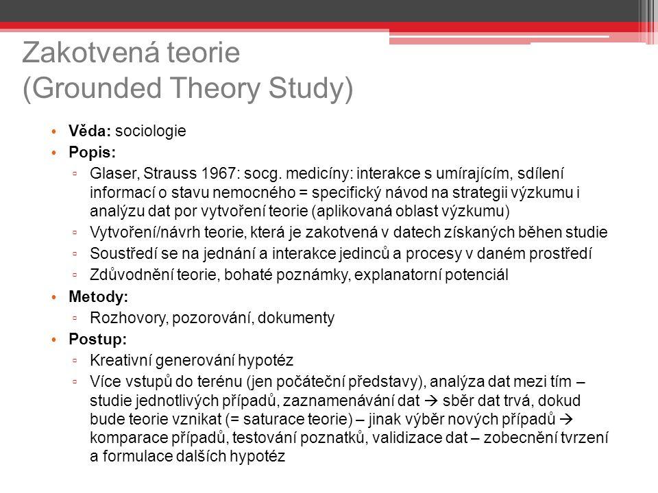 Zakotvená teorie (Grounded Theory Study) Věda: sociologie Popis: ▫ Glaser, Strauss 1967: socg. medicíny: interakce s umírajícím, sdílení informací o s