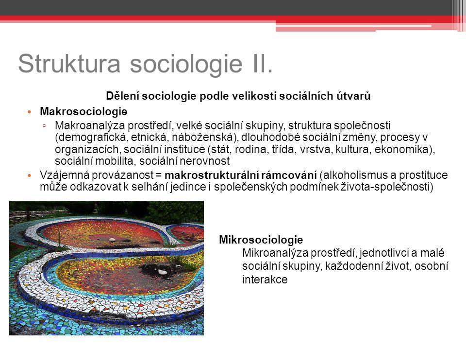 Struktura sociologie II. Dělení sociologie podle velikosti sociálních útvarů Makrosociologie ▫ Makroanalýza prostředí, velké sociální skupiny, struktu