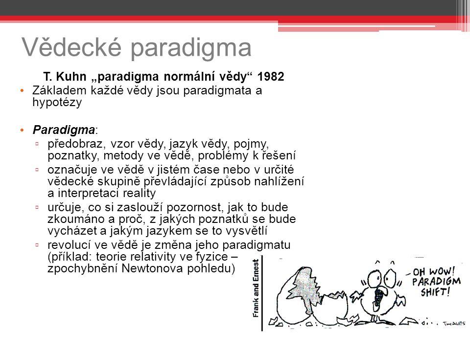 """Vědecké paradigma T. Kuhn """"paradigma normální vědy"""" 1982 Základem každé vědy jsou paradigmata a hypotézy Paradigma: ▫ předobraz, vzor vědy, jazyk vědy"""