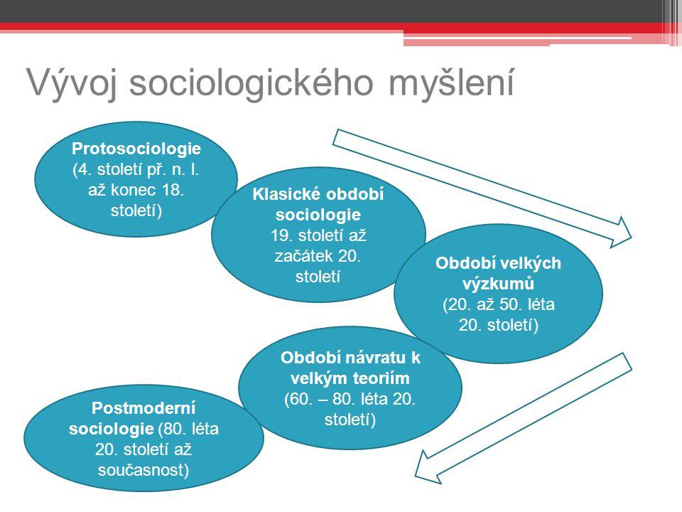 Vývoj sociologického myšlení etapy Protosociologie (4. století př. n. l. až konec 18. století) Klasické období sociologie 19. století až začátek 20. s