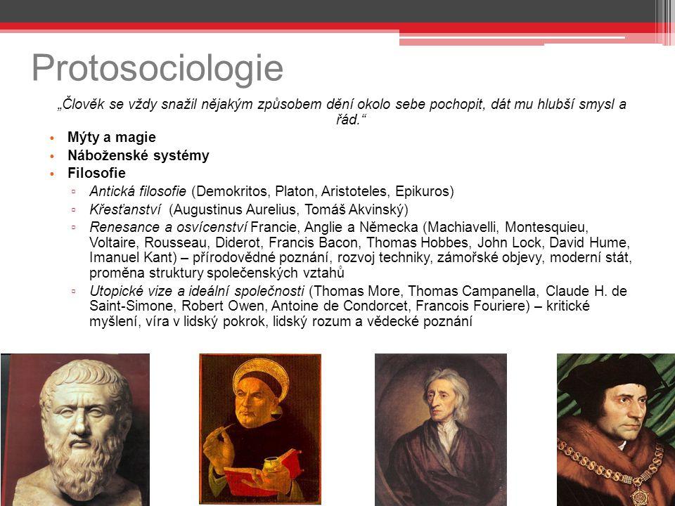 """Protosociologie """"Člověk se vždy snažil nějakým způsobem dění okolo sebe pochopit, dát mu hlubší smysl a řád."""" Mýty a magie Náboženské systémy Filosofi"""