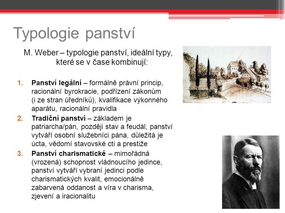 Typologie panství M. Weber – typologie panství, ideální typy, které se v čase kombinují: 1.Panství legální – formálně právní princip, racionální byrok