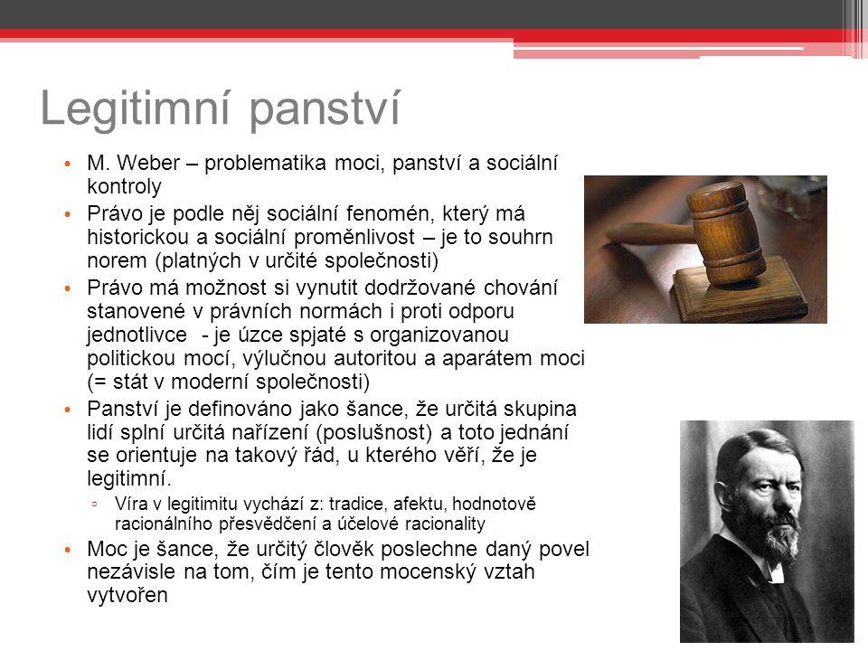 Legitimní panství M. Weber – problematika moci, panství a sociální kontroly Právo je podle něj sociální fenomén, který má historickou a sociální promě