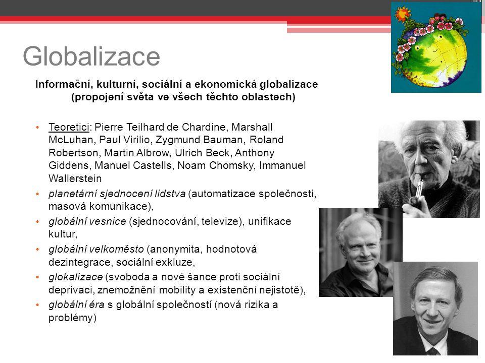 Globalizace Informační, kulturní, sociální a ekonomická globalizace (propojení světa ve všech těchto oblastech) Teoretici: Pierre Teilhard de Chardine, Marshall McLuhan, Paul Virilio, Zygmund Bauman, Roland Robertson, Martin Albrow, Ulrich Beck, Anthony Giddens, Manuel Castells, Noam Chomsky, Immanuel Wallerstein planetární sjednocení lidstva (automatizace společnosti, masová komunikace), globální vesnice (sjednocování, televize), unifikace kultur, globální velkoměsto (anonymita, hodnotová dezintegrace, sociální exkluze, glokalizace (svoboda a nové šance proti sociální deprivaci, znemožnění mobility a existenční nejistotě), globální éra s globální společností (nová rizika a problémy)