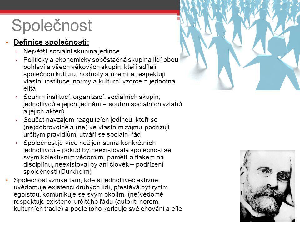 Společnost Definice společnosti: ▫ Největší sociální skupina jedince ▫ Politicky a ekonomicky soběstačná skupina lidí obou pohlaví a všech věkových sk