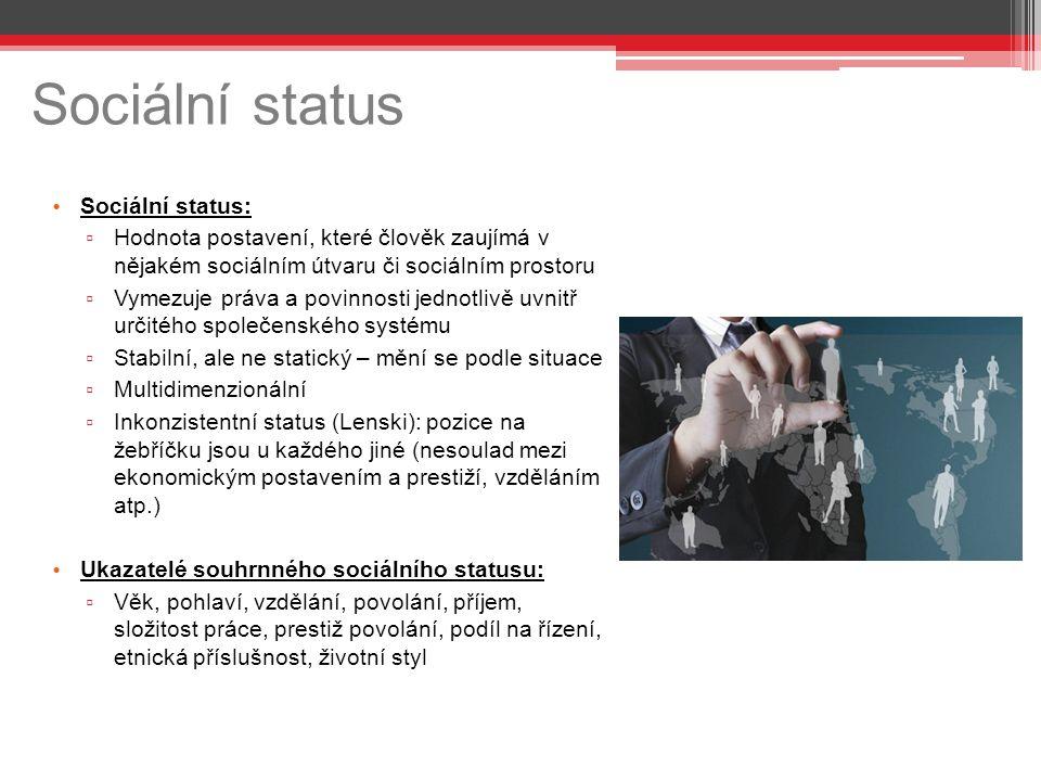 Sociální status Sociální status: ▫ Hodnota postavení, které člověk zaujímá v nějakém sociálním útvaru či sociálním prostoru ▫ Vymezuje práva a povinno