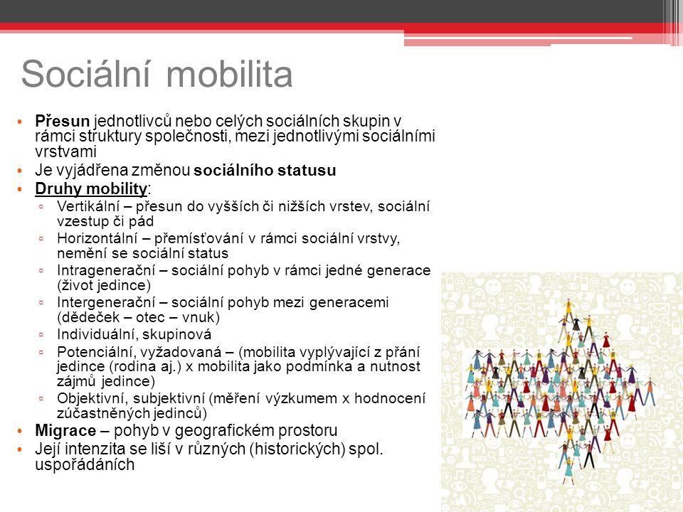 Sociální mobilita Přesun jednotlivců nebo celých sociálních skupin v rámci struktury společnosti, mezi jednotlivými sociálními vrstvami Je vyjádřena změnou sociálního statusu Druhy mobility: ▫ Vertikální – přesun do vyšších či nižších vrstev, sociální vzestup či pád ▫ Horizontální – přemísťování v rámci sociální vrstvy, nemění se sociální status ▫ Intragenerační – sociální pohyb v rámci jedné generace (život jedince) ▫ Intergenerační – sociální pohyb mezi generacemi (dědeček – otec – vnuk) ▫ Individuální, skupinová ▫ Potenciální, vyžadovaná – (mobilita vyplývající z přání jedince (rodina aj.) x mobilita jako podmínka a nutnost zájmů jedince) ▫ Objektivní, subjektivní (měření výzkumem x hodnocení zúčastněných jedinců) Migrace – pohyb v geografickém prostoru Její intenzita se liší v různých (historických) spol.