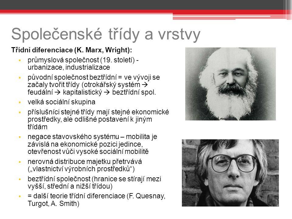Společenské třídy a vrstvy Třídní diferenciace (K. Marx, Wright):  průmyslová společnost (19. století) - urbanizace, industrializace  původní společ
