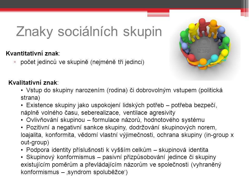 Znaky sociálních skupin Kvantitativní znak: ▫ počet jedinců ve skupině (nejméně tři jedinci) Kvalitativní znak: Vstup do skupiny narozením (rodina) či