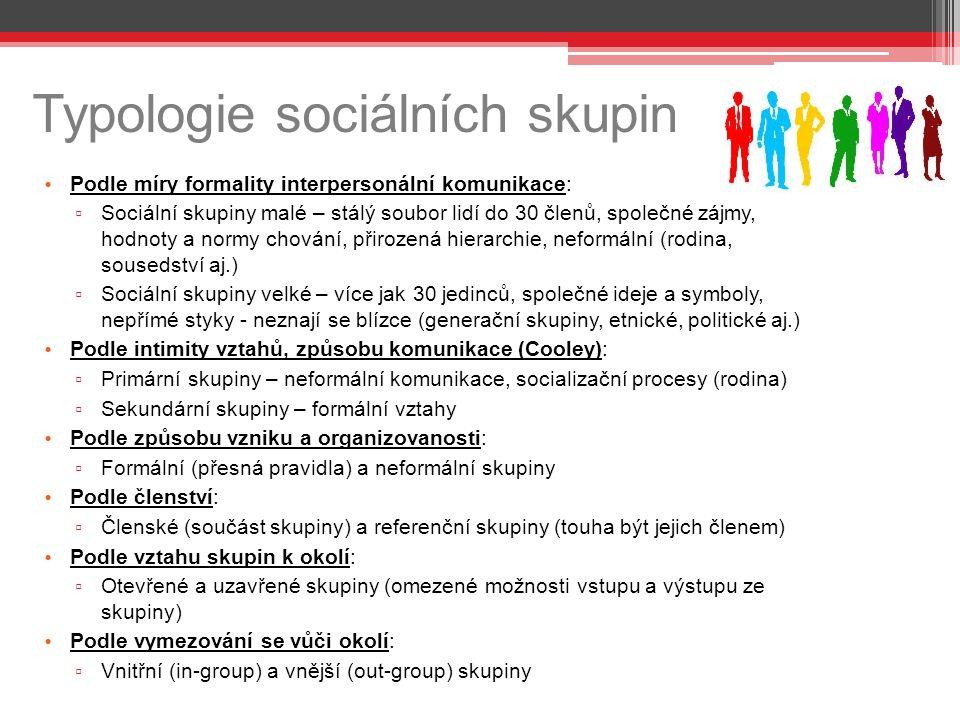 Typologie sociálních skupin Podle míry formality interpersonální komunikace: ▫ Sociální skupiny malé – stálý soubor lidí do 30 členů, společné zájmy, hodnoty a normy chování, přirozená hierarchie, neformální (rodina, sousedství aj.) ▫ Sociální skupiny velké – více jak 30 jedinců, společné ideje a symboly, nepřímé styky - neznají se blízce (generační skupiny, etnické, politické aj.) Podle intimity vztahů, způsobu komunikace (Cooley): ▫ Primární skupiny – neformální komunikace, socializační procesy (rodina) ▫ Sekundární skupiny – formální vztahy Podle způsobu vzniku a organizovanosti: ▫ Formální (přesná pravidla) a neformální skupiny Podle členství: ▫ Členské (součást skupiny) a referenční skupiny (touha být jejich členem) Podle vztahu skupin k okolí: ▫ Otevřené a uzavřené skupiny (omezené možnosti vstupu a výstupu ze skupiny) Podle vymezování se vůči okolí: ▫ Vnitřní (in-group) a vnější (out-group) skupiny