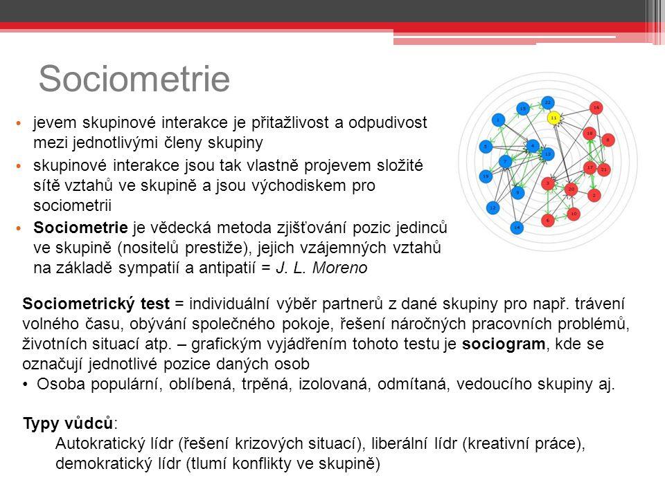 Sociometrie jevem skupinové interakce je přitažlivost a odpudivost mezi jednotlivými členy skupiny skupinové interakce jsou tak vlastně projevem složité sítě vztahů ve skupině a jsou východiskem pro sociometrii Sociometrie je vědecká metoda zjišťování pozic jedinců ve skupině (nositelů prestiže), jejich vzájemných vztahů na základě sympatií a antipatií = J.