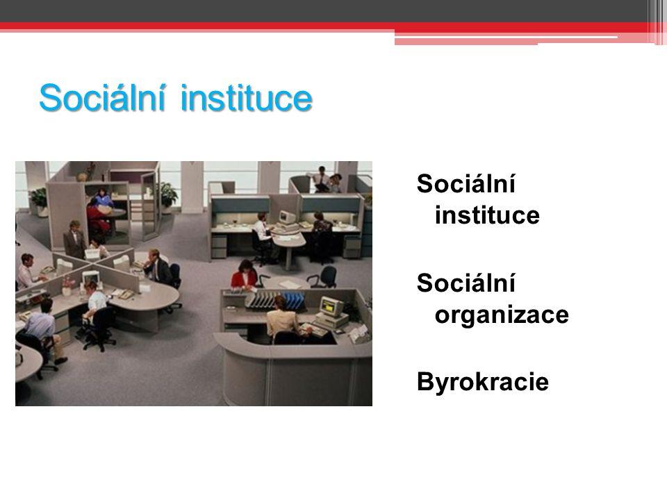 Sociální instituce Sociální organizace Byrokracie