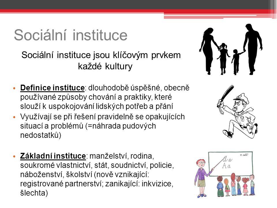 Sociální instituce Sociální instituce jsou klíčovým prvkem každé kultury Definice instituce: dlouhodobě úspěšné, obecně používané způsoby chování a pr