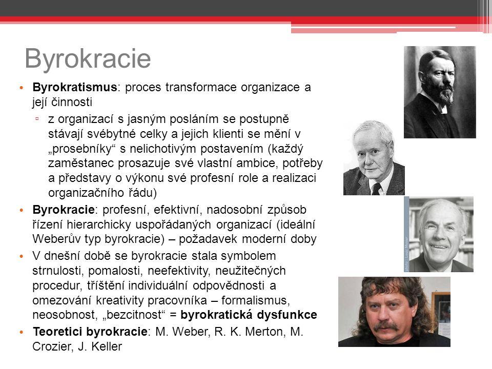 Byrokracie Byrokratismus: proces transformace organizace a její činnosti ▫ z organizací s jasným posláním se postupně stávají svébytné celky a jejich