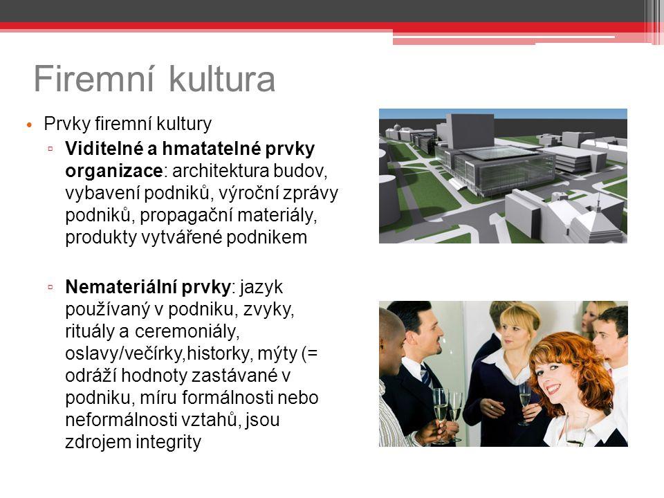 Firemní kultura Prvky firemní kultury ▫ Viditelné a hmatatelné prvky organizace: architektura budov, vybavení podniků, výroční zprávy podniků, propaga