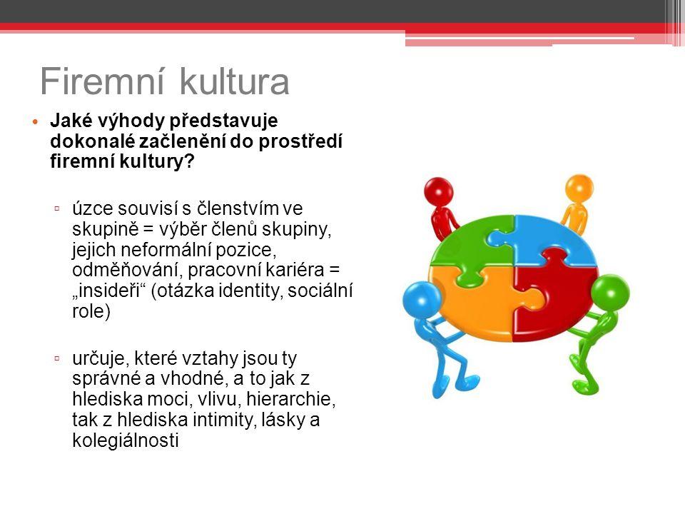 Firemní kultura Jaké výhody představuje dokonalé začlenění do prostředí firemní kultury? ▫ úzce souvisí s členstvím ve skupině = výběr členů skupiny,
