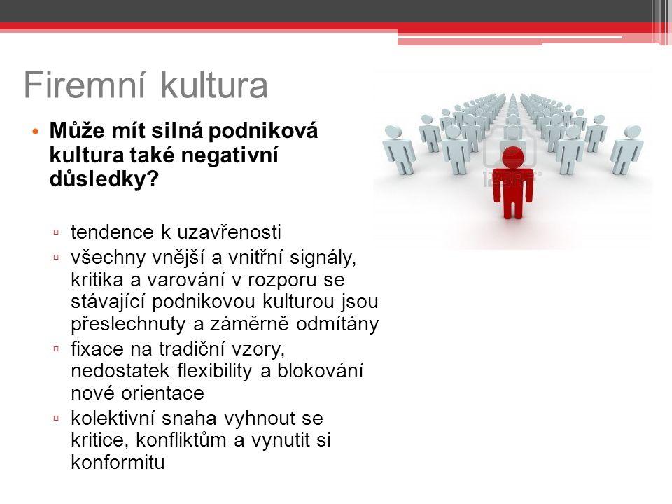 Firemní kultura Může mít silná podniková kultura také negativní důsledky.