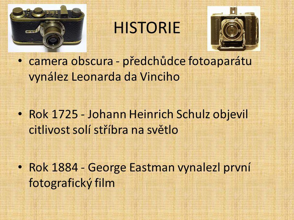 HISTORIE camera obscura - předchůdce fotoaparátu vynález Leonarda da Vinciho Rok 1725 - Johann Heinrich Schulz objevil citlivost solí stříbra na světl