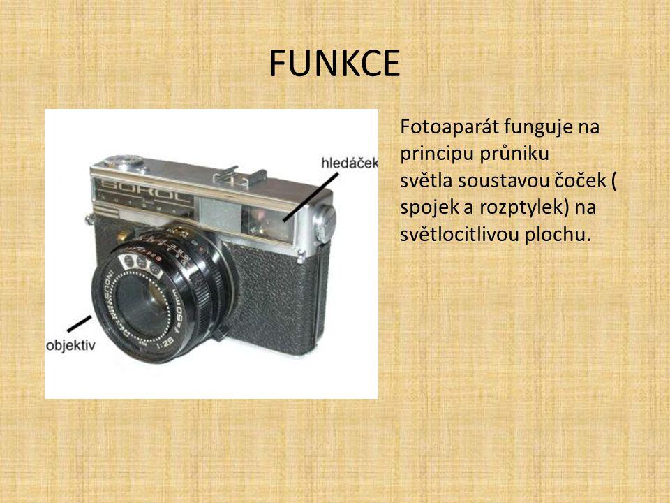 FUNKCE Fotoaparát funguje na principu průniku světla soustavou čoček ( spojek a rozptylek) na světlocitlivou plochu.