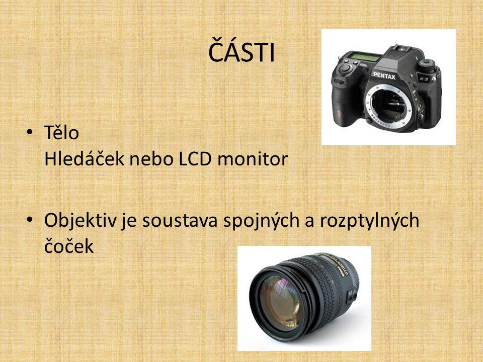 ČÁSTI Tělo Hledáček nebo LCD monitor Objektiv je soustava spojných a rozptylných čoček