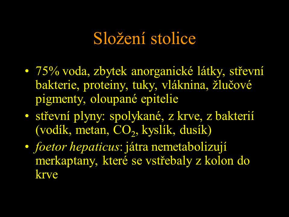 Složení stolice 75% voda, zbytek anorganické látky, střevní bakterie, proteiny, tuky, vláknina, žlučové pigmenty, oloupané epitelie střevní plyny: spolykané, z krve, z bakterií (vodík, metan, CO 2, kyslík, dusík) foetor hepaticus: játra nemetabolizují merkaptany, které se vstřebaly z kolon do krve