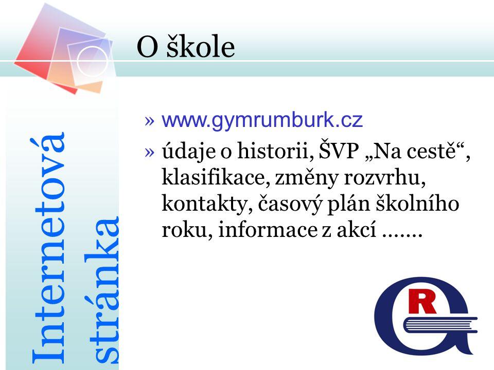 """O škole » www.gymrumburk.cz »údaje o historii, ŠVP """"Na cestě"""", klasifikace, změny rozvrhu, kontakty, časový plán školního roku, informace z akcí ……. I"""