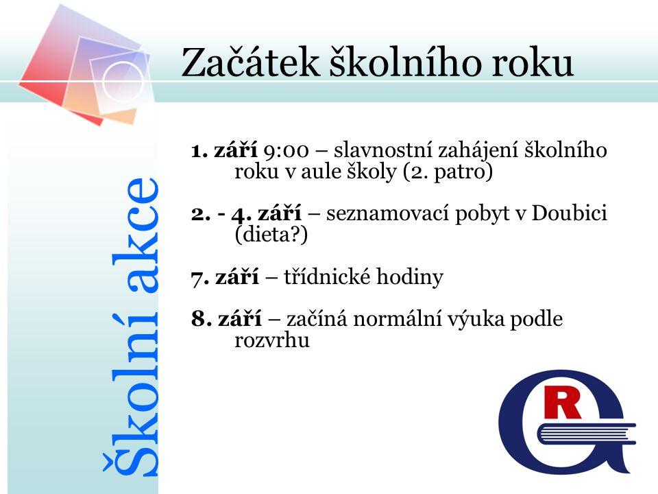 Začátek školního roku 1. září 9:00 – slavnostní zahájení školního roku v aule školy (2. patro) 2. - 4. září – seznamovací pobyt v Doubici (dieta?) 7.