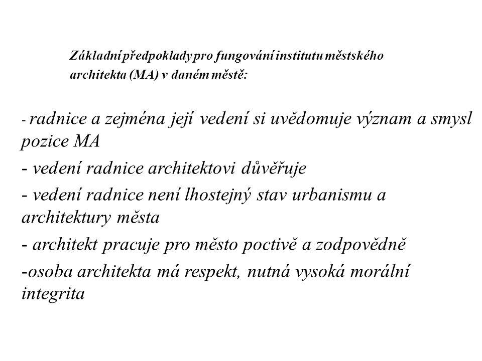 Základní předpoklady pro fungování institutu městského architekta (MA) v daném městě: - radnice a zejména její vedení si uvědomuje význam a smysl pozi