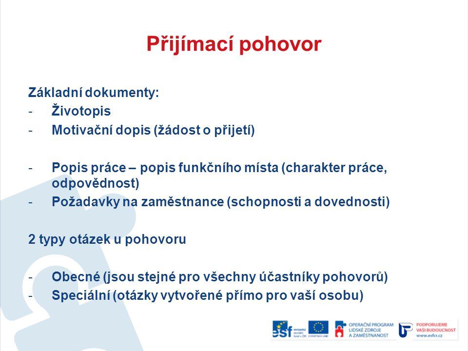 Přijímací pohovor Základní dokumenty: -Životopis -Motivační dopis (žádost o přijetí) -Popis práce – popis funkčního místa (charakter práce, odpovědnos