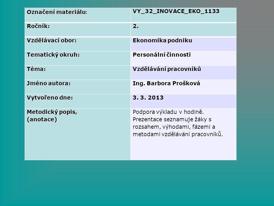 Označení materiálu : VY_32_INOVACE_EKO_1133Ročník:2. Vzdělávací obor: Ekonomika podniku Tematický okruh: Personální činnosti Téma: Vzdělávání pracovní
