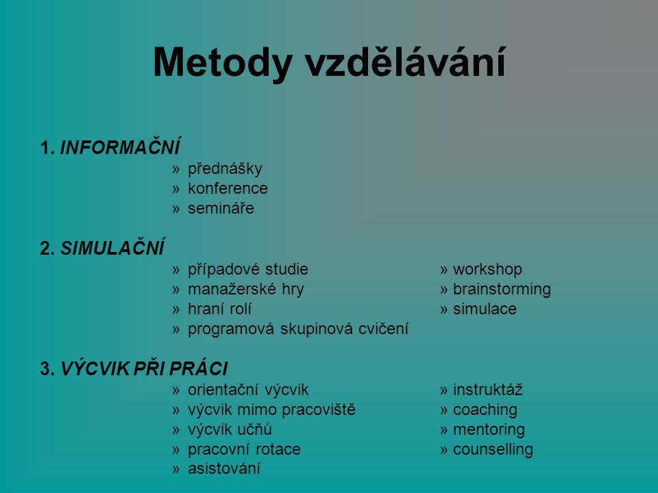 Metody vzdělávání 1. INFORMAČNÍ »přednášky »konference »semináře 2. SIMULAČNÍ »případové studie » workshop »manažerské hry » brainstorming »hraní rolí