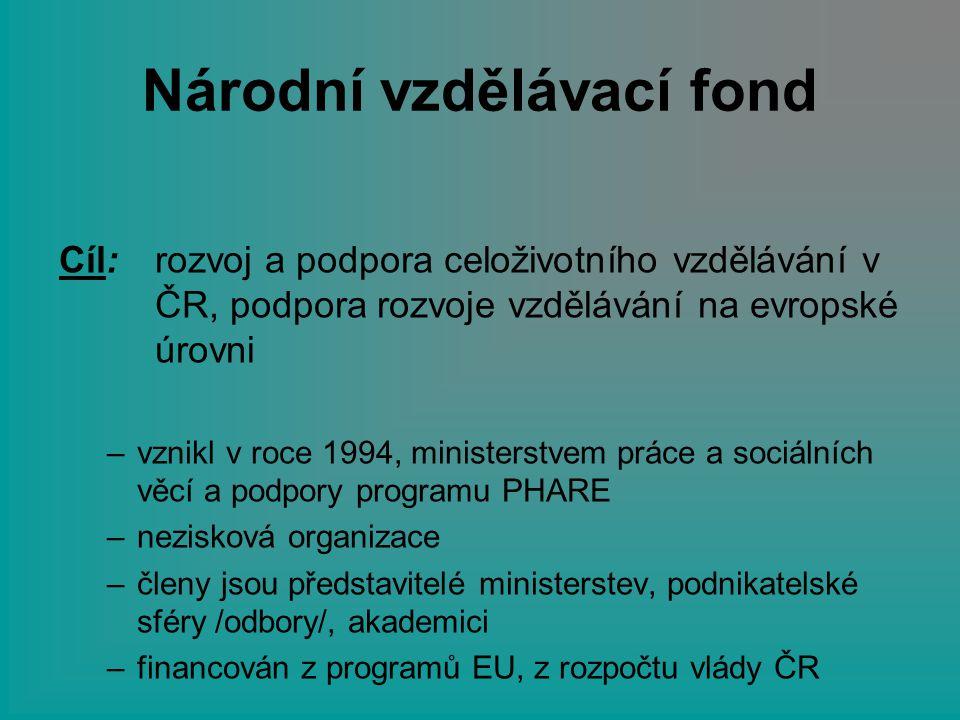 Národní vzdělávací fond Cíl: rozvoj a podpora celoživotního vzdělávání v ČR, podpora rozvoje vzdělávání na evropské úrovni –vznikl v roce 1994, minist