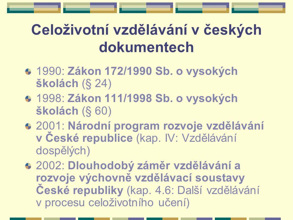Celoživotní vzdělávání v českých dokumentech 1990: Zákon 172/1990 Sb. o vysokých školách (§ 24) 1998: Zákon 111/1998 Sb. o vysokých školách (§ 60) 200
