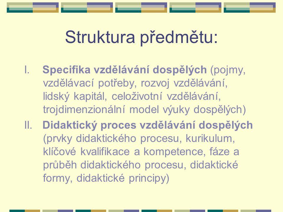 Struktura předmětu: I. Specifika vzdělávání dospělých (pojmy, vzdělávací potřeby, rozvoj vzdělávání, lidský kapitál, celoživotní vzdělávání, trojdimen