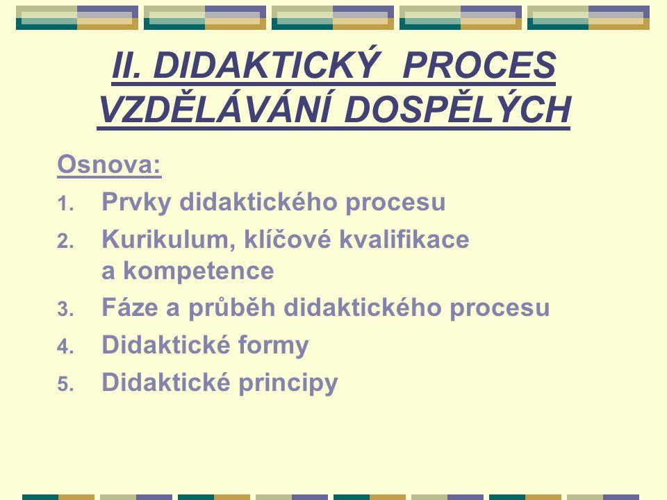 II. DIDAKTICKÝ PROCES VZDĚLÁVÁNÍ DOSPĚLÝCH Osnova: 1. Prvky didaktického procesu 2. Kurikulum, klíčové kvalifikace a kompetence 3. Fáze a průběh didak